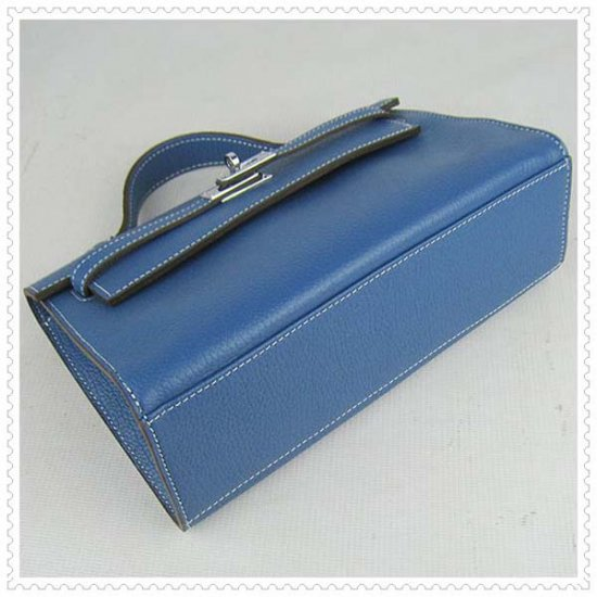 Hermes Handbags Kelly 22CM Blue Lichee Stripe Leather Silver Hardware Bag - Click Image to Close