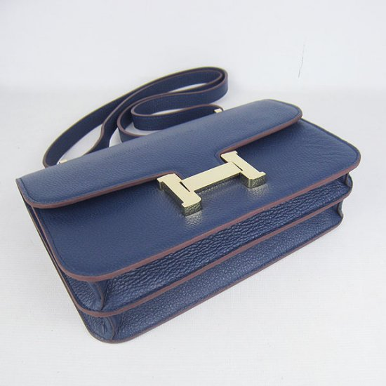 Hermes Handbags Constance Dark Blue Cowskin Leather Gold Hardware Bag - Click Image to Close