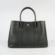 Hermes Handbags Garden Party Black Cowskin Leather Silver Hardware Bag