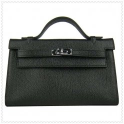 Hermes Handbags Kelly 22CM Black Lichee Stripe Leather Silver Hardware Bag