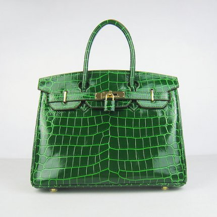 Hermes Handbags Birkin 30 CM Green New Crocodile Veins Bag