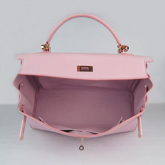 Hermes Handbags Kelly 35 CM Pink Cowskin Leather Gold Hardware Bag - Click Image to Close
