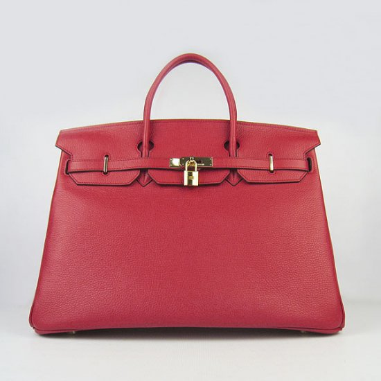 Hermes Handbags Birkin 40CM H6099 Red Cowhide Leather Gold Hardware Bag - Click Image to Close