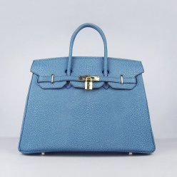 Hermes Handbags Birkin 35CM H6089 Blue Pearl Stripe Leather Gold Hardware Bag