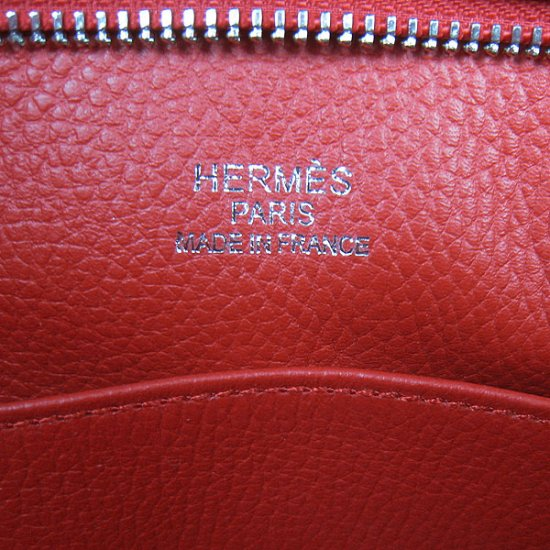 Hermes Handbags Picotin H2801 Red Cowskin Leather Silver Hardware Bag - Click Image to Close