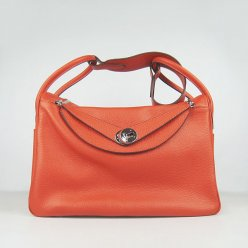 Hermes Handbags Lindy Orange Cowskin Leather Silver Hardware Bag