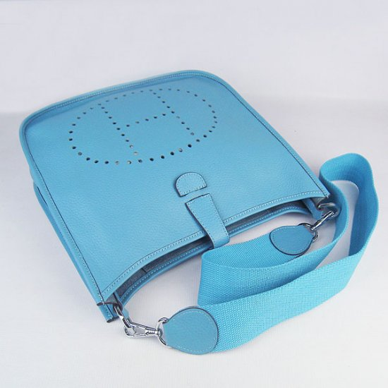 Hermes Handbags Evelyne III Light Blue Cowskin Leather Silver Hardware Bag - Click Image to Close
