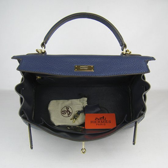 Hermes Handbags Kelly 32 CM Dark Blue Lichee Pattern Leather Gold Hardware Bag - Click Image to Close