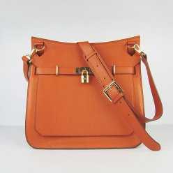 Hermes Handbags Jypsiere Orange Cowskin Leather Gold Hardware Bag