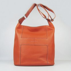 Hermes Handbags Picotin H2801 Orange Cowskin Leather Silver Hardware Bag