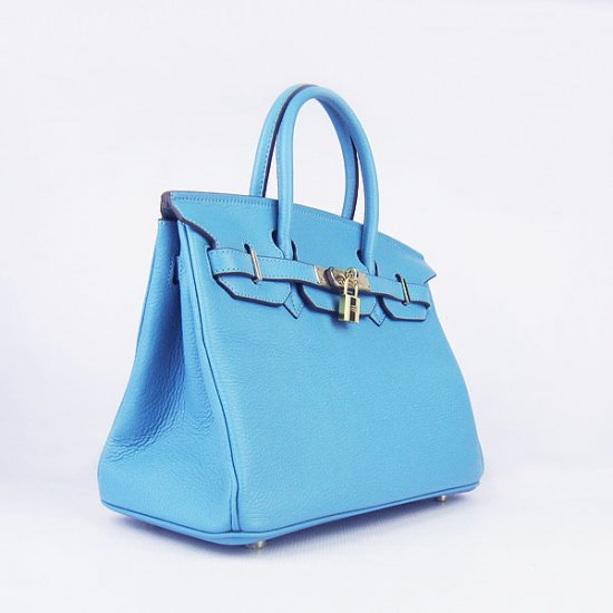 Hermes Handbags Birkin 30 CM Light Blue Lichee Pattern Bag - Click Image to Close