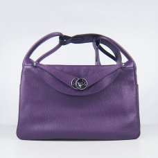 Hermes Handbags Lindy Purple Cowskin Leather Silver Hardware Bag