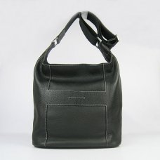 Hermes Handbags Picotin H2801 Black Cowskin Leather Silver Hardware Bag