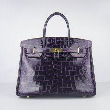 Hermes Handbags Birkin 30 CM Purple New Crocodile Veins Bag
