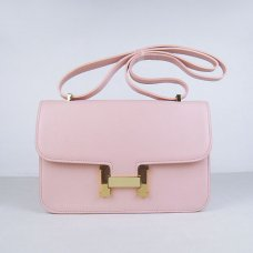 Hermes Handbags Constance Pink Cowhide Leather Gold Hardware Bag