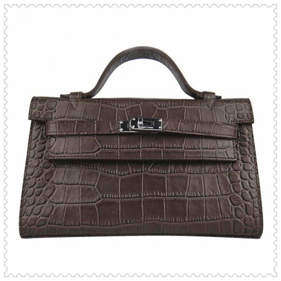 Hermes Handbags Kelly 22CM Chocolate Crocodile Stripe Leather Silver Hardware Bag - Click Image to Close