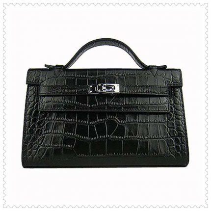 Hermes Handbags Kelly 22CM Black Crocodile Leather Silver Hardware Bag