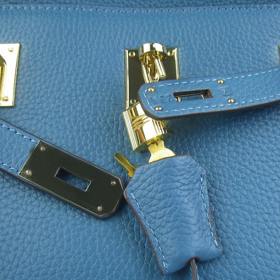 Hermes Handbags Jypsiere Blue Cowskin Leather Gold Hardware Bag - Click Image to Close