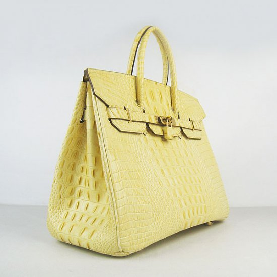 Hermes Handbags Birkin 35 CM Yellow Crocodile Scalp Bag - Click Image to Close