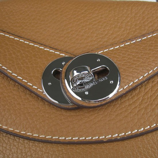 Hermes Handbags Lindy Brown Cowskin Leather Silver Hardware Bag - Click Image to Close