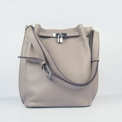 Hermes Handbags Picotin Herpicot 24cm Grey Cowskin Leather Silver Hardware Bag