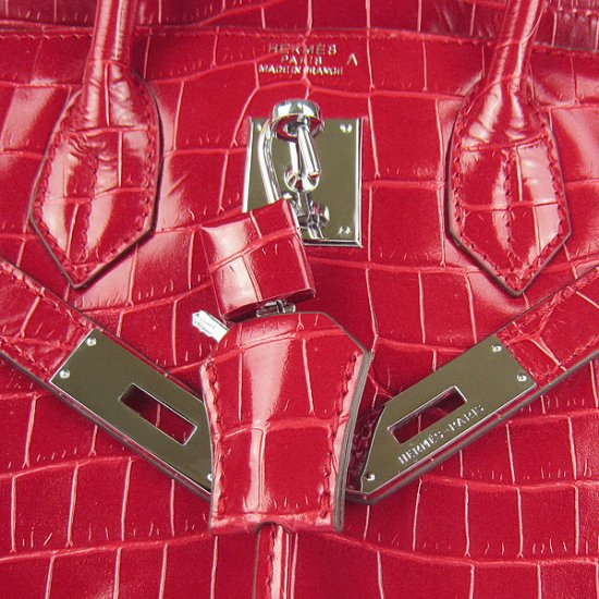 Hermes Handbags Birkin 30 CM Red New Crocodile Veins Bag - Click Image to Close