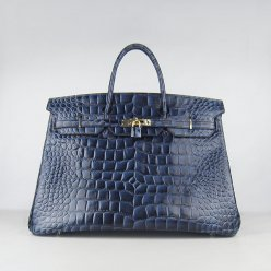 Hermes Handbags Birkin 40CM H6099 Dark Blue Crocodile Stripe Leather Gold Hardware Bag