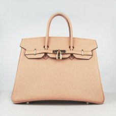 Hermes Handbags Birkin 35CM H6089 Light Orange Pearl Stripe Leather Gold Hardware Bag