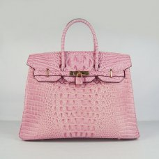 Hermes Handbags Birkin 35 CM Pink Crocodile Scalp Bag