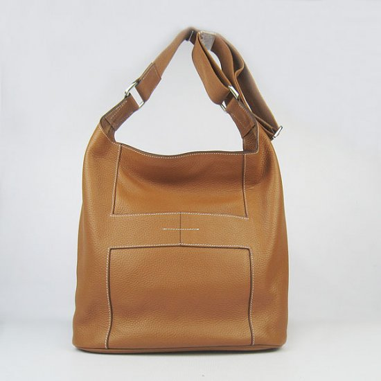 Hermes Handbags Picotin H2801 Light Brown Cowskin Leather Silver Hardware Bag - Click Image to Close