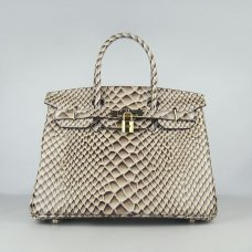 Hermes Handbags Birkin 30 CM Gray Fish Stripe Bag