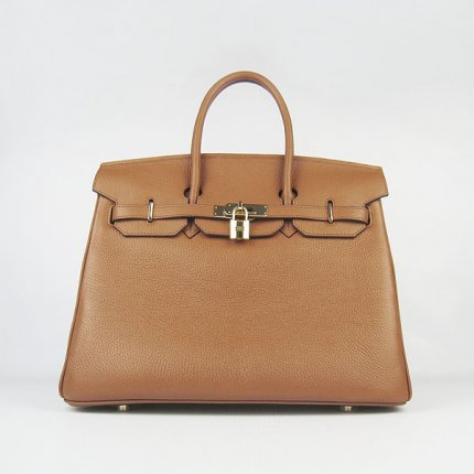 Hermes Handbags Birkin 35 CM Light Brown Cow Neck Leather Bag