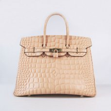 Hermes Handbags Birkin 35 CM Light Yellow Crocodile Stripe Bag