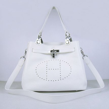 Hermes Handbags Picotin Herpicot White Cowskin Leather Silver Hardware Bag