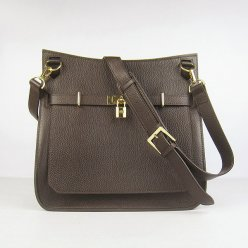 Hermes Handbags Jypsiere Dark Brown Cowskin Leather Gold Hardware Bag