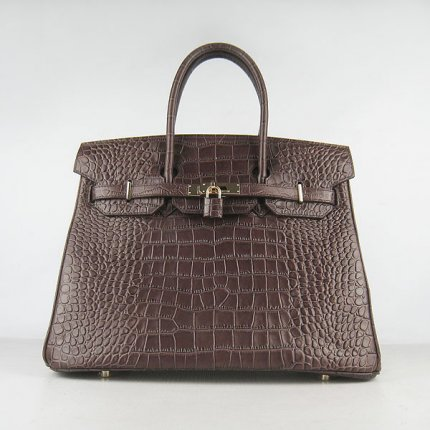 Hermes Handbags Birkin 35 CM Dark Brown Crocodile Bag