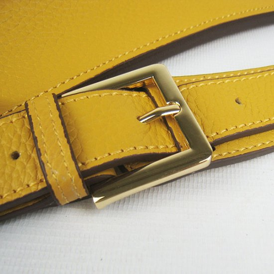 Hermes Handbags Jypsiere Yellow Cowskin Leather Gold Hardware Bag - Click Image to Close