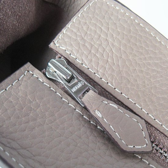 Hermes Handbags Picotin H2801 Grey Cowskin Leather Silver Hardware Bag - Click Image to Close