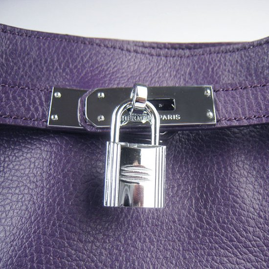 Hermes Handbags Picotin Herpicot Purple Cowskin Leather Silver Hardware Bag - Click Image to Close