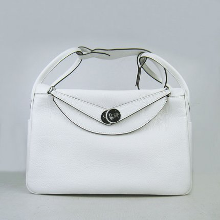 Hermes Handbags Lindy white Cowskin Leather Silver Hardware Bag