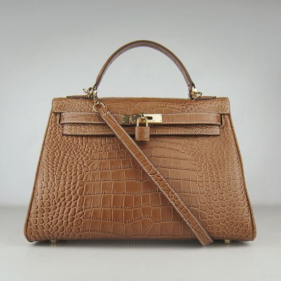 Hermes Handbags Kelly 32 CM Brown Crocodile Leather Gold Hardware Bag - Click Image to Close