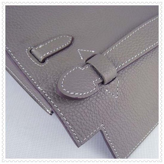 Hermes Handbags Kelly 22CM Grey Lichee Stripe Leather Silver Hardware Bag - Click Image to Close