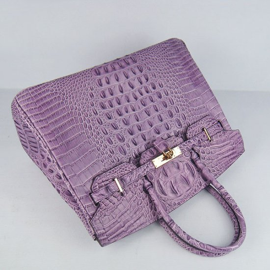 Hermes Handbags Birkin 35 CM Purple Crocodile Scalp Bag - Click Image to Close