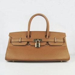 Hermes Handbags Birkin 42 CM Brown Cowhide Leather Gold Hardware Bag