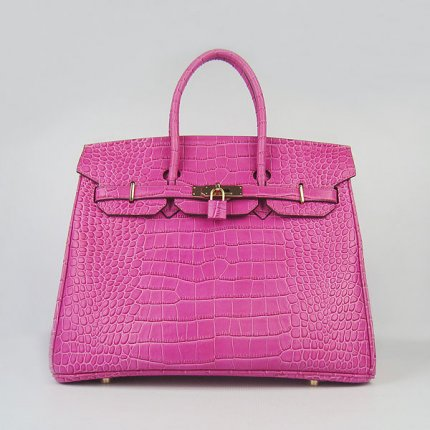 Hermes Handbags Birkin 35 CM Peach Crocodile Bag