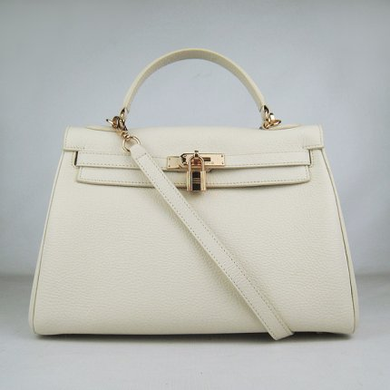 Hermes Handbags Kelly 32 CM Beige Lichee Pattern Leather Gold Hardware Bag