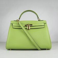 Hermes Handbags Kelly 32 CM Green Lichee Pattern Leather Gold Hardware Bag
