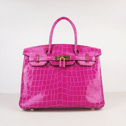 Hermes Handbags Birkin 30 CM Peach New Crocodile Veins Bag