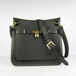 Hermes Handbags Jypsiere Black Cowskin Leather Gold Hardware Bag