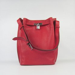 Hermes Handbags Picotin Herpicot Red Cowskin Leather Silver Hardware Bag